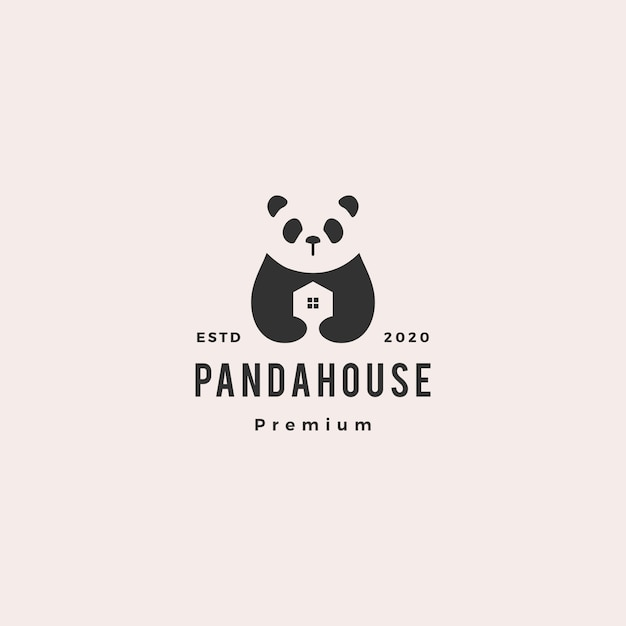 Panda Maison Logo Hipster Vintage Rétro Vecteur Premium