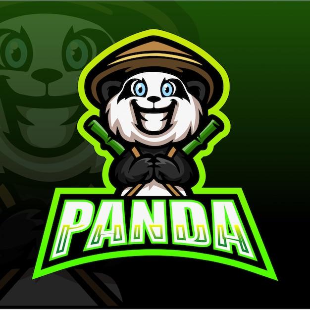 Panda Mascotte Esport Illustration Vecteur Premium