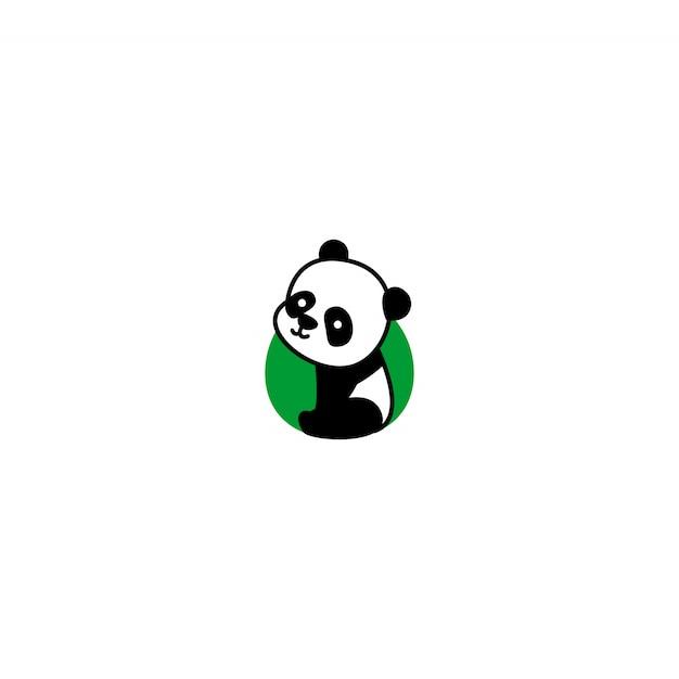 Panda Mignon Assis Et Souriant Icône De Dessin Animé