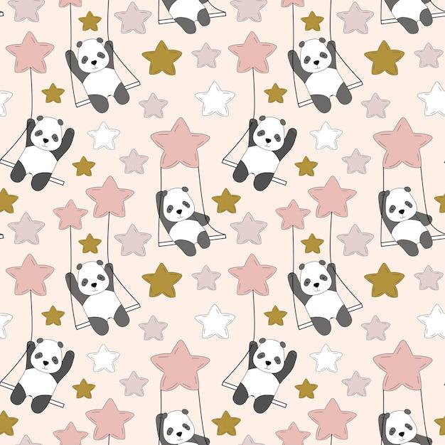 Panda Mignon Sur Une Balançoire Dans Le Ciel Parmi Les étoiles. Vecteur Premium