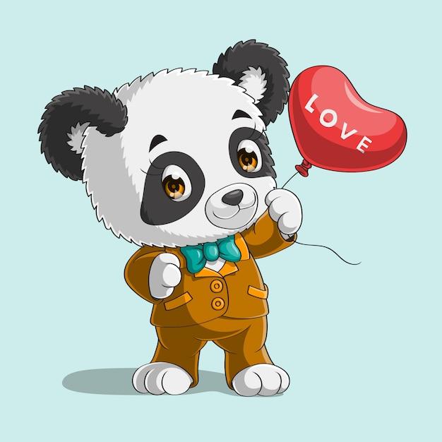 Panda Mignon Avec Ballon Coeur Dessiné à La Main Vecteur Premium