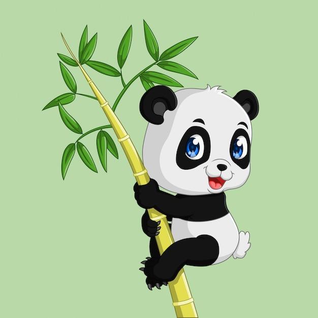 Panda Mignon Sur Un Bambou Vecteur Premium
