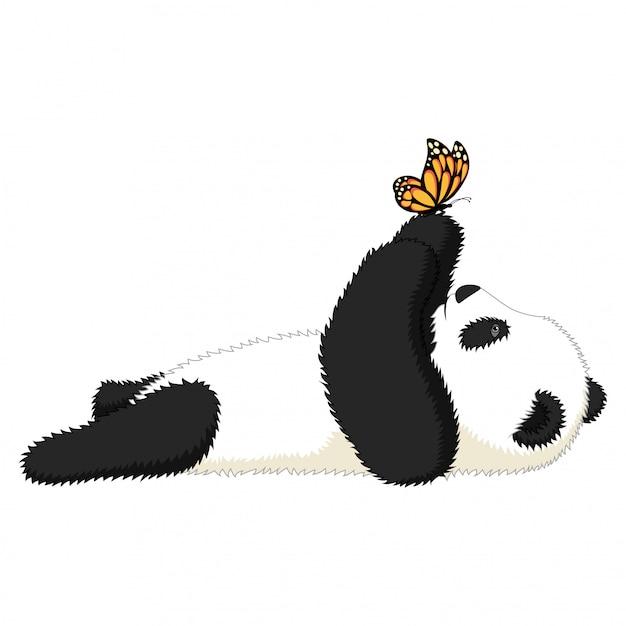 Panda Mignon De Bande Dessinée Joue Avec Un Papillon Vecteur Premium