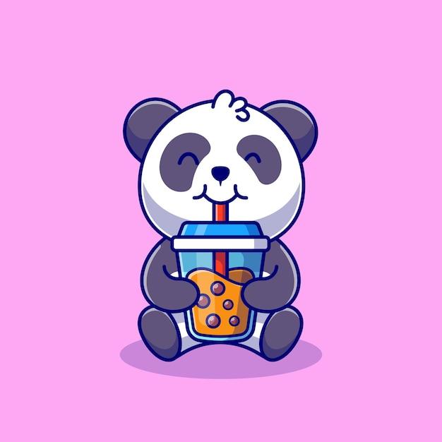 Panda Mignon Buvant Du Thé Au Lait Boba Dessin Animé Icône Illustration Nourriture Animale Icône Concept Isolé. Style De Bande Dessinée Plat Vecteur gratuit