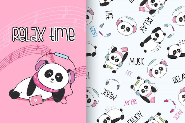 Panda mignon dessiné main avec set vector pattern Vecteur Premium