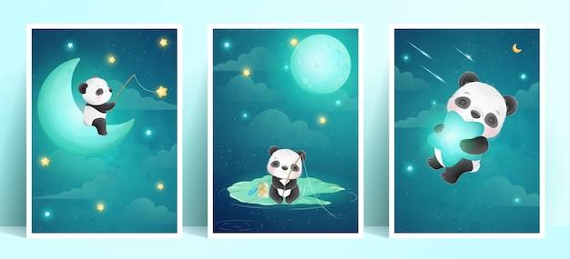 Panda Mignon Doodle Avec Collection De Cadres Vecteur Premium