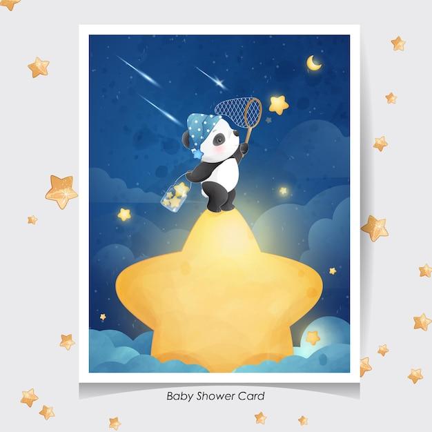 Panda Mignon Doodle Avec Illustration Aquarelle Vecteur Premium