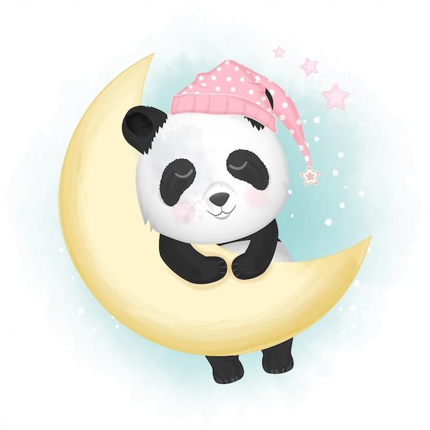 Panda Mignon Dormant Illustration Dessinée à La Main Vecteur Premium