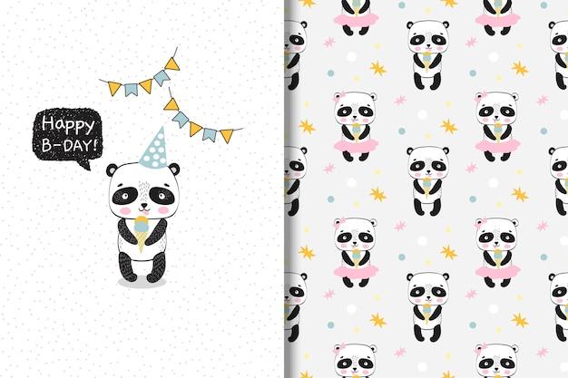 Panda mignon avec de la glace. carte d'anniversaire et modèle sans couture. Vecteur Premium