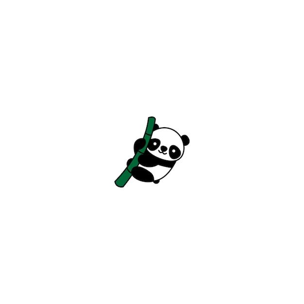 Panda Mignon Sur Une Icône De Dessin Animé En Bambou