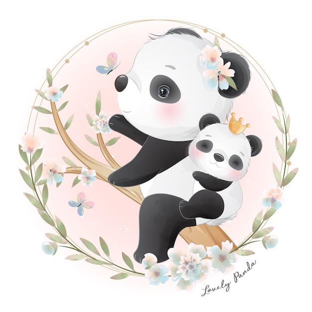 Panda Mignon Avec Illustration Florale Vecteur Premium