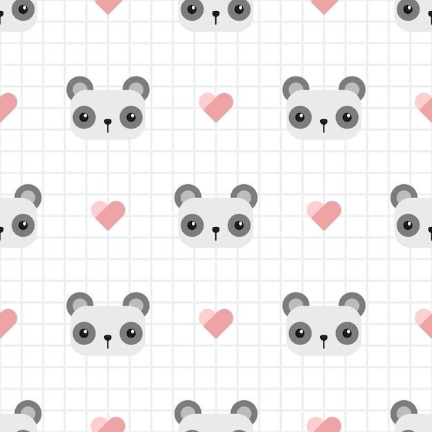 Panda mignon avec motif sans couture de dessin animé Vecteur Premium