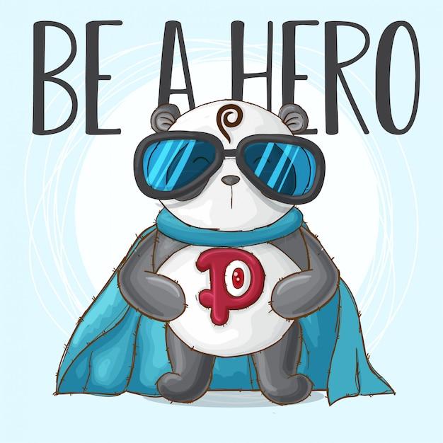 Panda mignon petit héros-vecteur Vecteur Premium