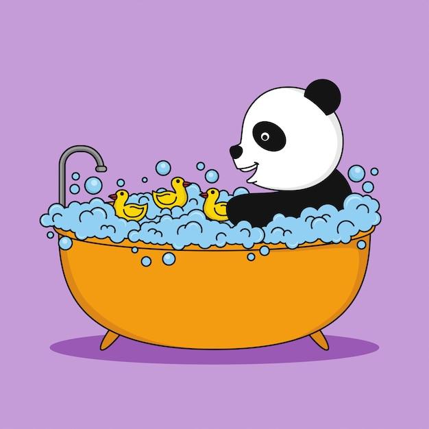 Panda mignon prenant un bain Vecteur Premium