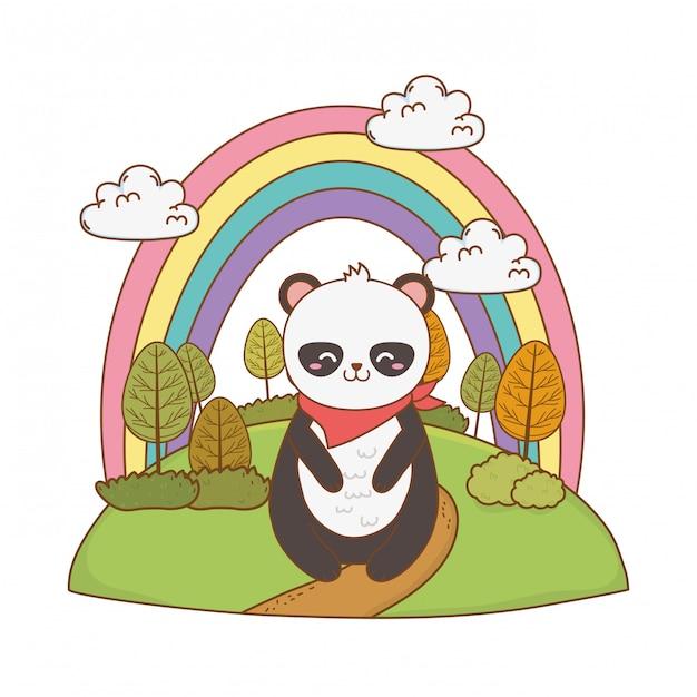 Panda ours mignon dans le caractère de terrain boisé Vecteur Premium