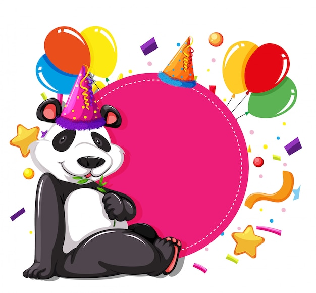 Panda party sur carte rose Vecteur gratuit