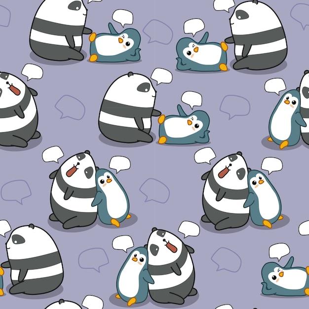 Le panda et le pingouin sans couture discutent. Vecteur Premium