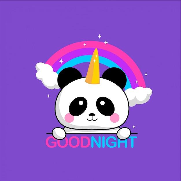 Panda rainbow Vecteur Premium