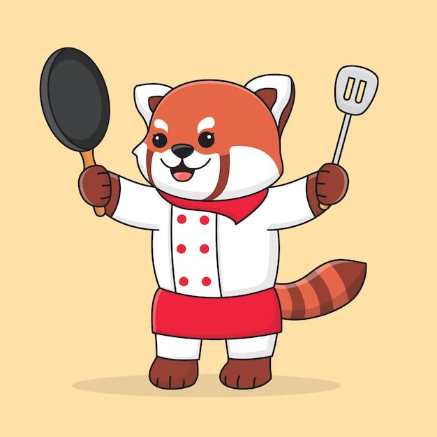 Panda Rouge Mignon Chef Tenant Une Spatule Et Une Poêle Vecteur Premium