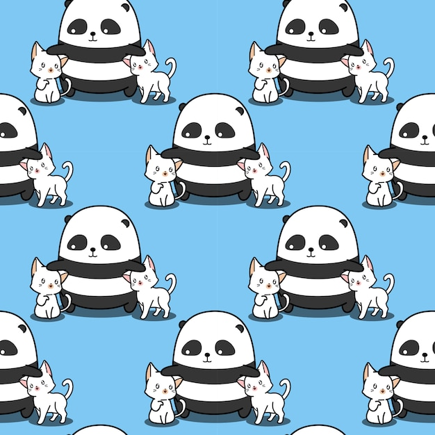 Le Panda Sans Couture Aime Les Chats. Vecteur Premium