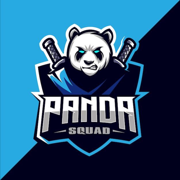 Panda Squad Avec épée Mascotte Esport Logo Design Vecteur Premium