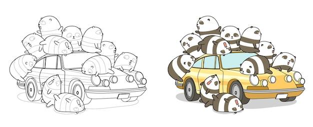 Pandas Avec Coloriage De Dessin Animé De Voiture Vecteur Premium