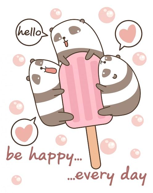 Pandas Kawaii Avec Barre De Crème Glacée Télécharger Des