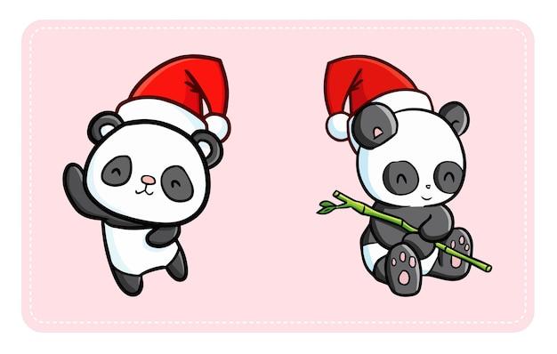 Pandas Kawaii Mignons Et Drôles Portant Le Chapeau Du Père Noël Pour Noël Vecteur Premium