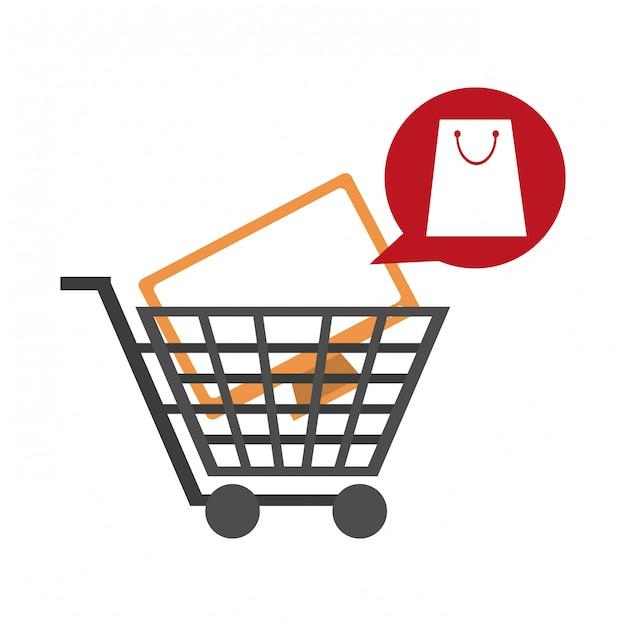 Panier d'achat avec télévision Vecteur Premium