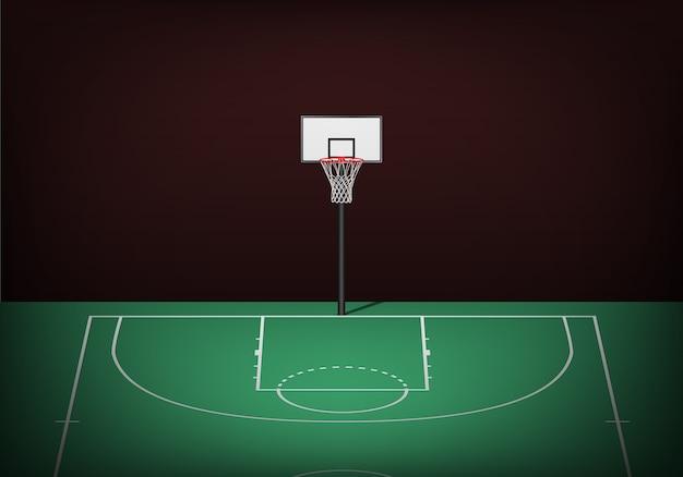 Panier De Basket Sur Un Terrain Vert Vide. Vecteur Premium