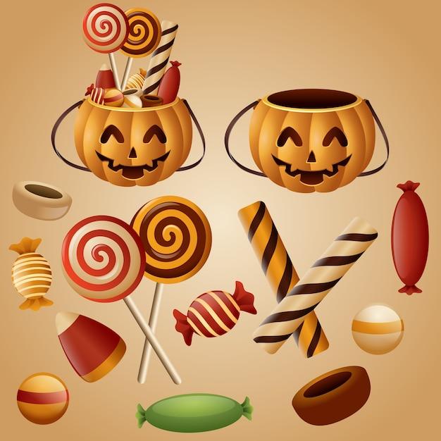 Panier de citrouilles d'halloween avec des bonbons Vecteur Premium