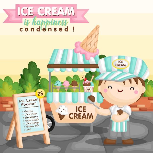 Panier de crème glacée garçon Vecteur Premium