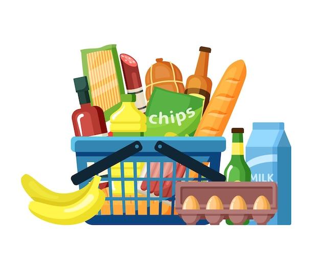 Panier D'épicerie Avec Illustration Plate D'assortiment Alimentaire Vecteur Premium
