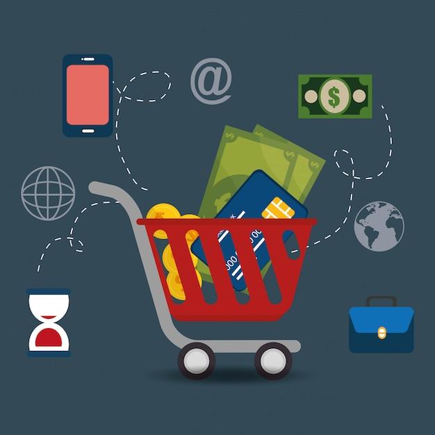 Panier avec des icônes de commerce électronique Vecteur gratuit