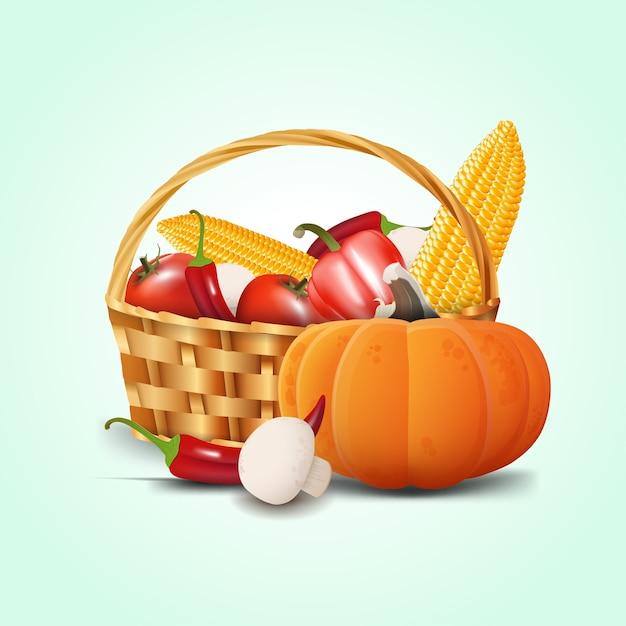 Panier de légumes Vecteur Premium