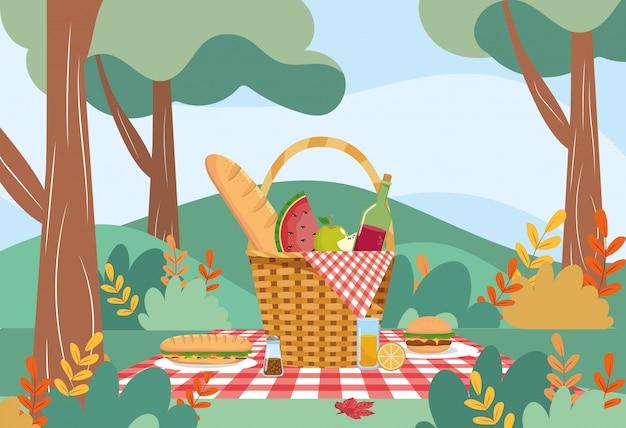 Panier à pain et bouteille de vin à la pastèque Vecteur gratuit