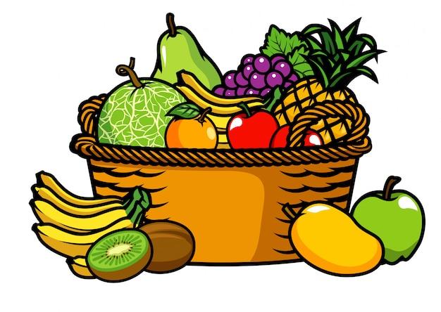 Panier plein de fruits Vecteur Premium