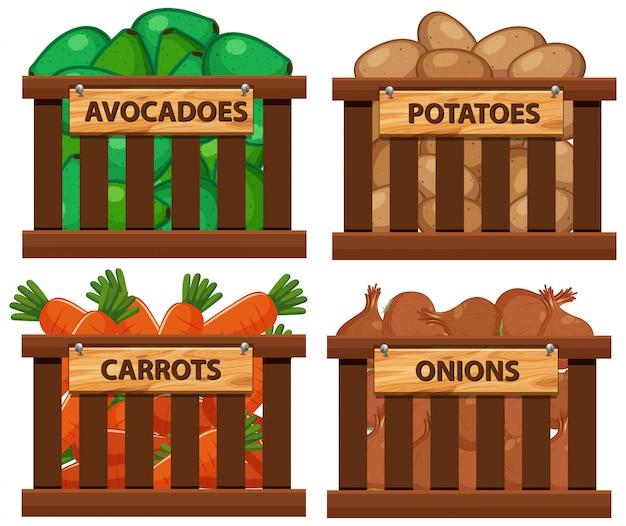 Panier rempli de légumes Vecteur Premium