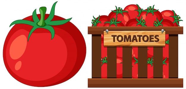 Panier Rempli De Tomates Sur Blanc Vecteur Premium