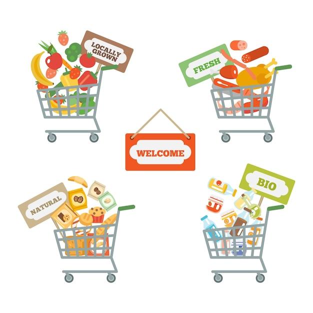 Panier de supermarché avec de la nourriture Vecteur gratuit