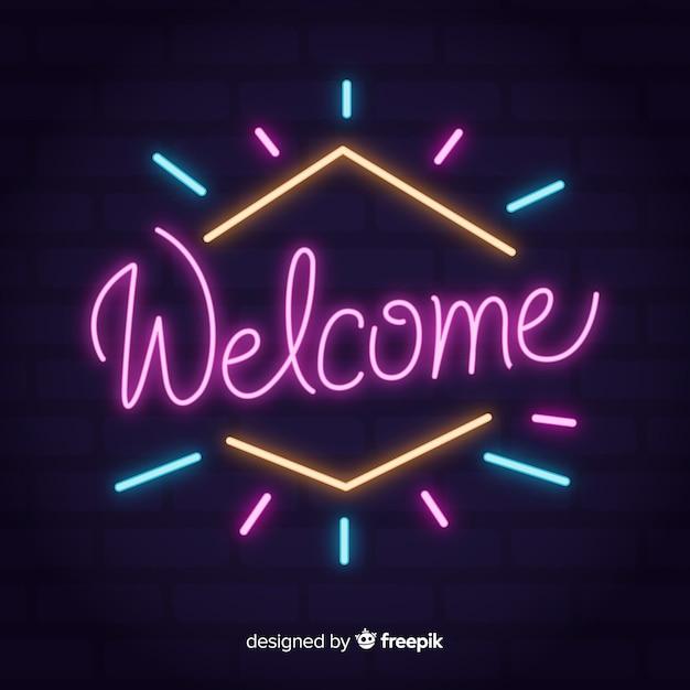 Panneau d'accueil moderne avec un style néon Vecteur gratuit