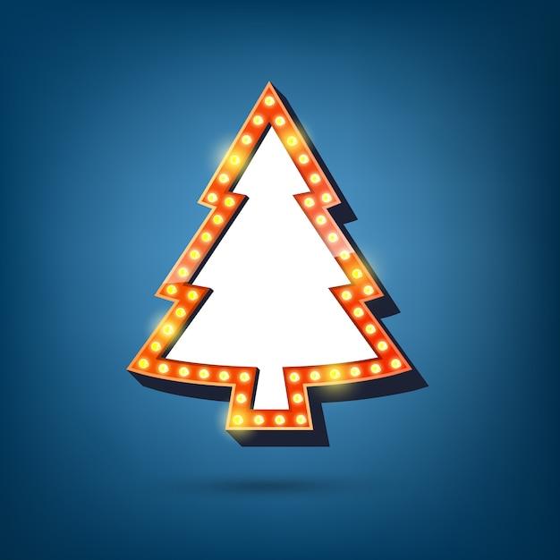Panneau D'affichage D'ampoules électriques, Cadre Léger Est L'arbre De Noël Vecteur Premium