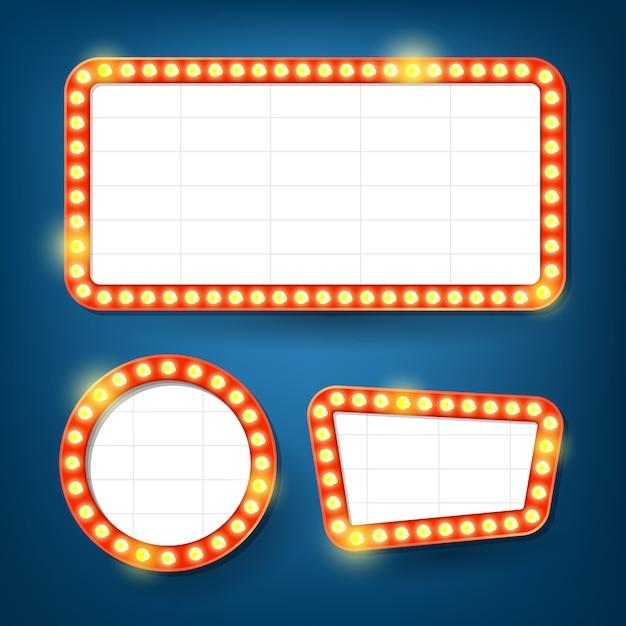 Panneau d'affichage des ampoules électriques. cadres légers rétro. Vecteur Premium