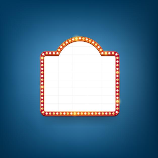 Panneau D'affichage D'ampoules électriques. Cadres Lumineux Rétro Pour Le Texte. Vecteur Premium