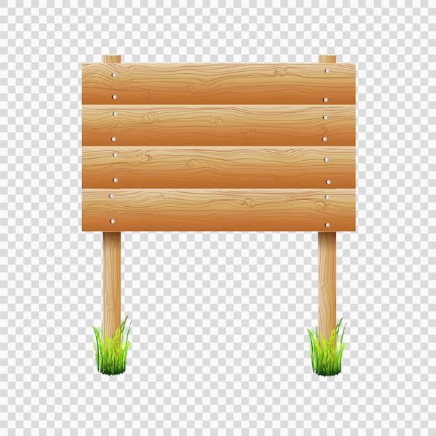 Panneau d'affichage en bois avec de l'herbe sur fond transparent Vecteur Premium