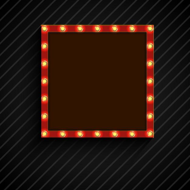 Panneau d'affichage carré rétro avec des lampes sur fond noir Vecteur Premium