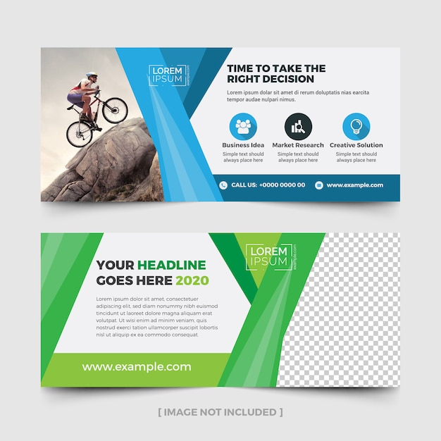Panneau d'affichage publicitaire avec des accents bleus et verts Vecteur Premium