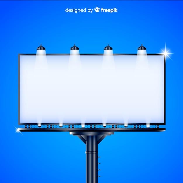 Panneau d'affichage réaliste avec des lumières à l'extérieur Vecteur gratuit