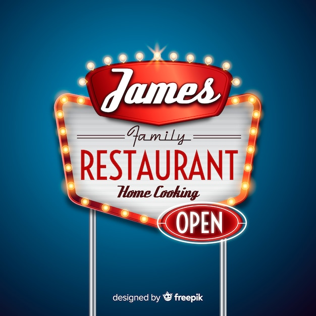 Panneau D'affichage De Restaurant Vecteur gratuit