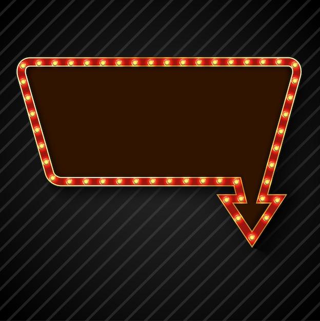 Panneau d'affichage rétro ampoule avec un espace pour le texte Vecteur Premium
